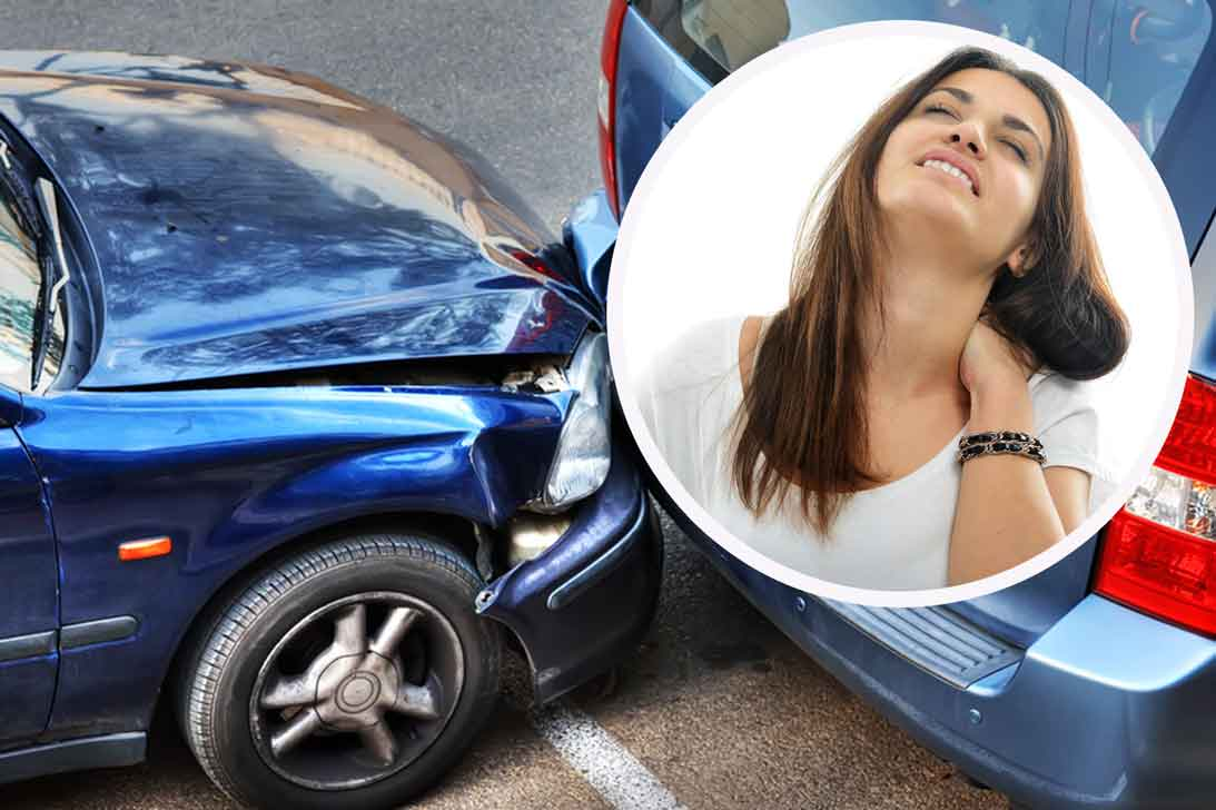 Image of two crashed cars with a whiplash victim